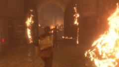 a blurry photo of a fire