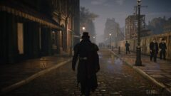 a man walking down a city street