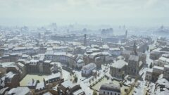 a view of a city covered in snow