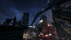 a city street at night