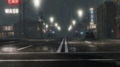 a train on a rainy night