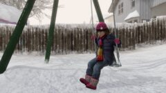 a person walking in the snow