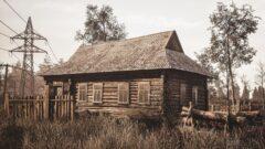 an old barn in a field