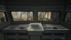a train on a stove top oven sitting inside of a car