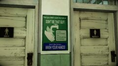 a sign above a door