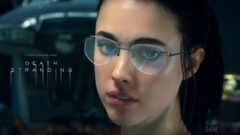 a close up of Margaret Qualley wearing glasses