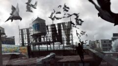 a bird flying over a building