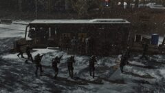 a group of people walking in the snow