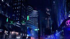 a traffic light on a city street at night