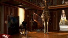 a giraffe standing next to a fireplace