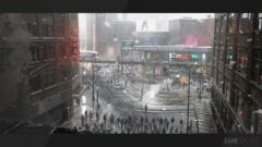 a close up of a rainy city street