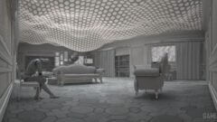 a room filled with furniture and a brick building