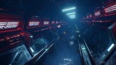 a close up of a subway train at night