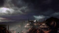a large ship in the dark clouds