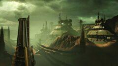 a large ship in a dark cloudy sky