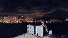 a lit up city at night