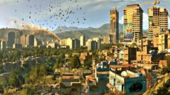 a bird flying over a city