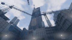a crane next to a building