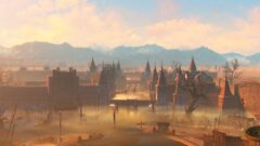 a view of a city at sunset
