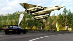 a airplane that is driving down the road