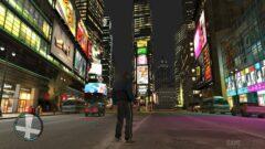 a person walking down a city street