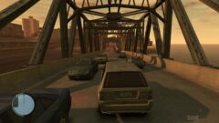 a car on a bridge