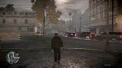 a man is walking down the street