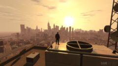 a sunset over a city
