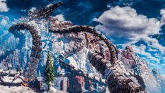 a close up of a snow covered mountain