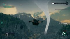 a screenshot of a video game with a mountain in the background