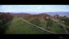 a view of a lush green hillside