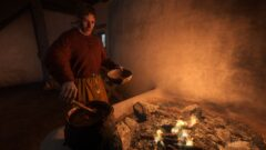 a man cooking in an oven
