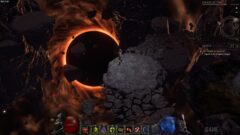 a fire burning in a dark room