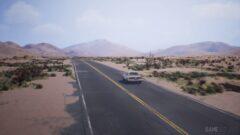a car driving down a dirt road