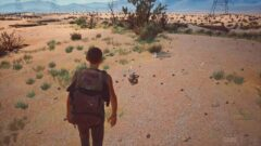 a person walking down a dirt road