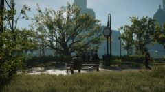 a clock tower in the middle of a park