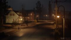 a view of a city street at night