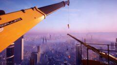 a crane over a city