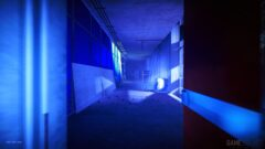 a room with blue light