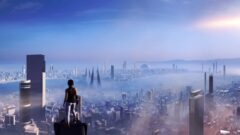a person standing in front of a large city landscape