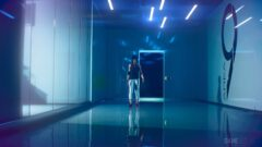 a person in a blue room