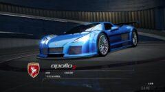 a blue car on display