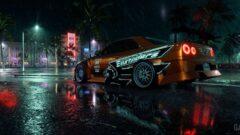 a car on a rainy night