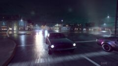 a car driving on a rainy night