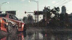 a traffic light on a rainy day