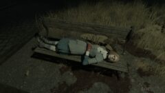 a person sleeping on a park bench