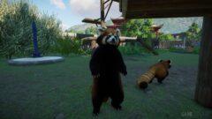 a panda bear walking across a grass covered field
