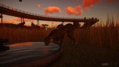 a sunset over a bridge