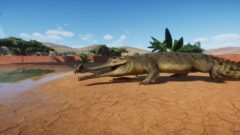 a large reptile in the desert