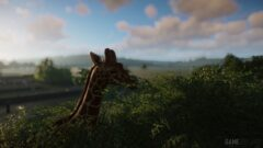 a close up of a giraffe walking through a cloudy sky